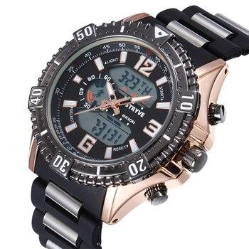 Stryve Brand Man Military Watches Large Dial Waterproof Dual Display Quartz Digital Clock Men Luxury Sports Watch reloj hombre