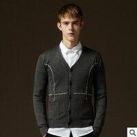 T China barato al por mayor 2018 otoño nueva hombres ropa de moda suéter cardigan con cuello en V sweater coat moda Delgado