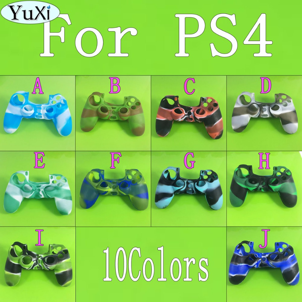 YuXi Silicone Gamepad Skin Cover Case Camouflage Color Anti-Slip Game Controller Protector Case Shell for PlayStation 4 PS4