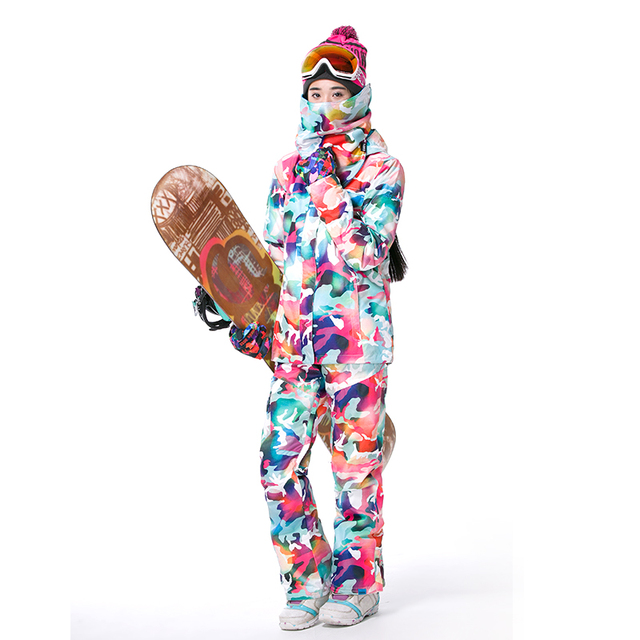 Gsou colorful ski suit female cool snowboard jacket snow pant women mountain skiing wintersport veste pantalon ski femme