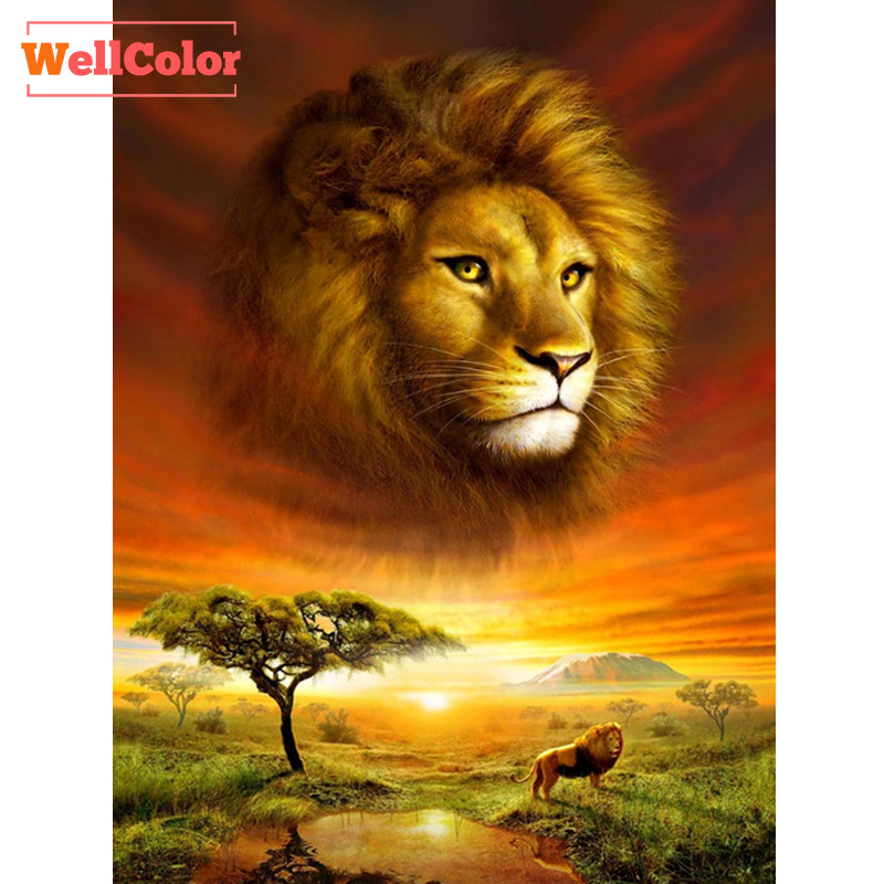 Lion King in Woods 5D Diamond Mosaic Animals Needlework DIY Diamond Embroidery Beading Set Diamond Rhinestone Painting Hobbies