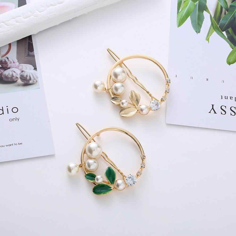 2019 New Women Girls Gold/Green Leaf Metal Circle Star Pearl Hair Clips Elegant Alloy Pearl Hairpins Holder Hair Accessories