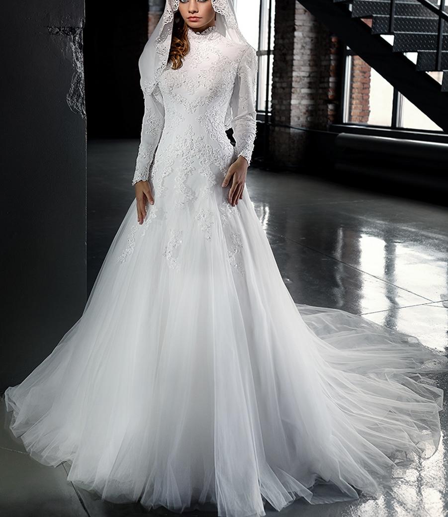 2017 designers lace high neck ic long sleeve muslim wedding