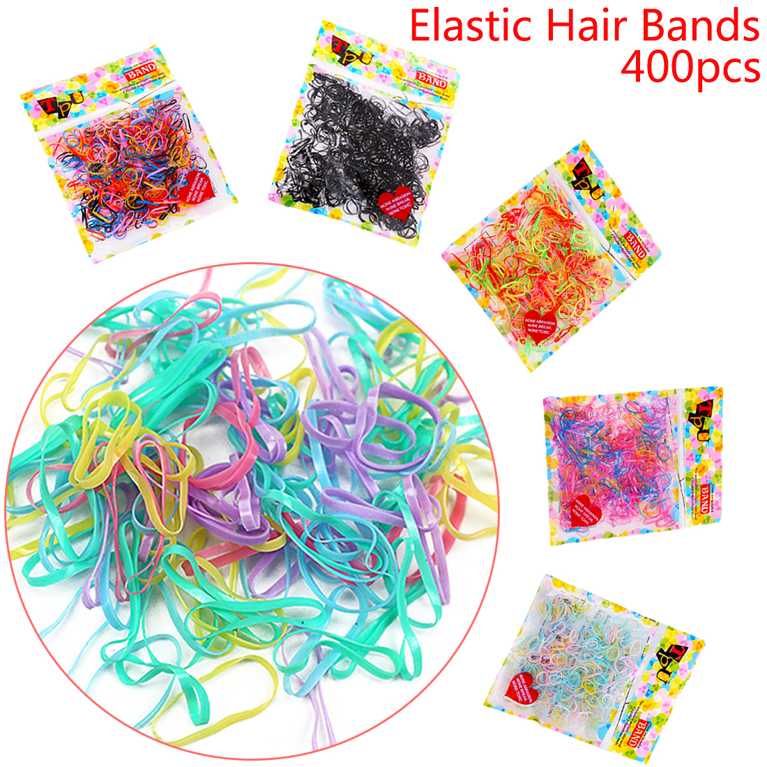 400pcs/lot Girls Hair Accessories Mix Color Ponytail Holder Headwear Hair Ring Ropes One-Off Braiding Elastic Hair Bands