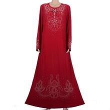 Muslim abaya kaftan dress Islamic clothing for women embroidery dubai abaya kaftan muslim hijab abaya dress red 55M8896