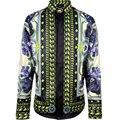 Моды для мужчин панк-стиль рубашки лоскутное 3d Религии Барокко BLUELOVER Цветы Цветочный печати длинные рукава рубашки Slim fit стильный