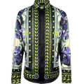 Men fashion punk style shirts patchwork 3d Religion Baroque BLUELOVER Flowers Floral print long sleeves shirts Slim fit stylish