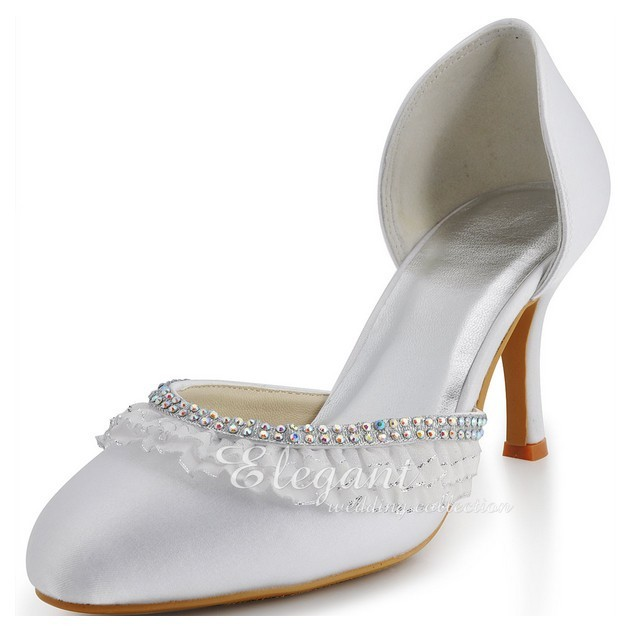 Round Toe White high Heel Wedding Dress Shoes Sweetness Formal Shoes Banquet Pumps Elegant  Bridal Shoes Plus Size 34-42 2016 white pearl 4 inches stiletto heel bridal dress shoes formal dress high heels pointed toe wedding banquet party prom shoes