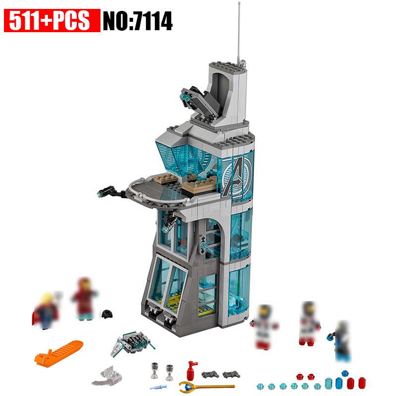 511pcs Marvel Superheroes Iron Man Base Attack On Avengers Tower Model Building Blocks Bricks Toys For Children single sale star wars superhero marvel avengers iceman x men building blocks action sets model bricks toys for children