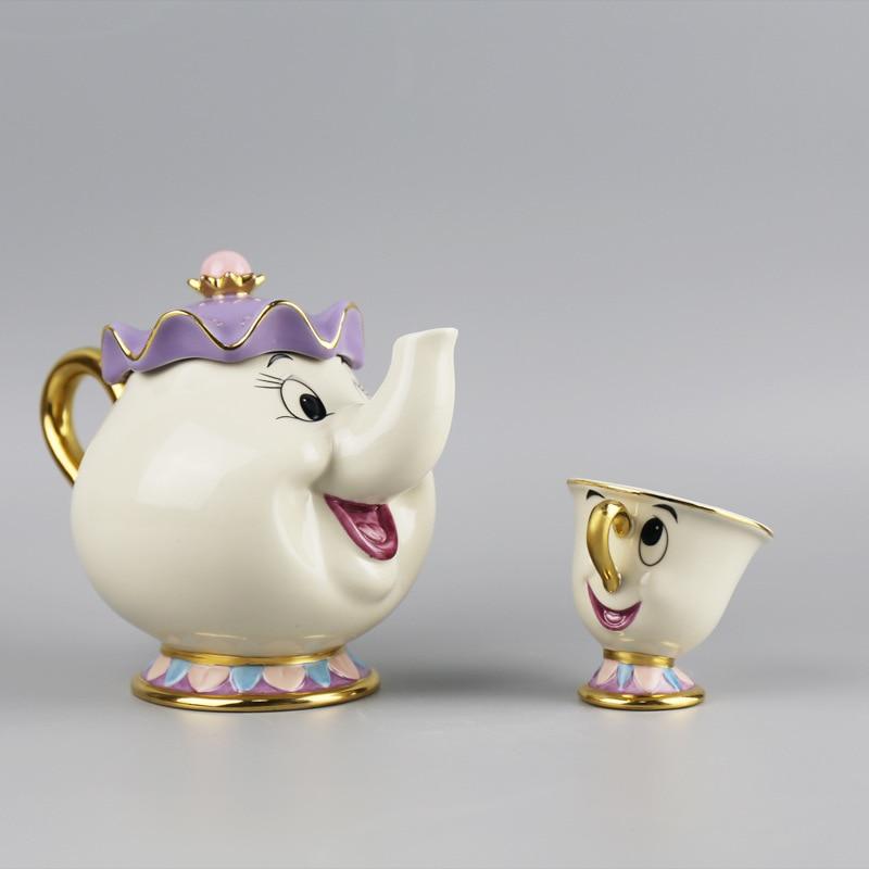Old Style Luxury Cartoon Beauty And The Beast Teapot Mug Mrs Potts Chip Tea Pot Set