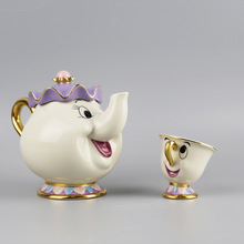 Alten Stil Luxus Cartoon Schönheit Und Das Biest Teekanne Tasse Mrs Potts Chip Teekanne Set Porzellan vergoldete Bemalt Keramik geschenk