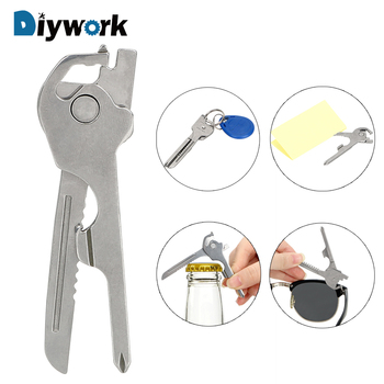 DIYWORK 6 in 1 EDC Screwdriver Mini Knife Wine Opener Key Ring Creative Key Chain Keyring Multifunction Hand Tools