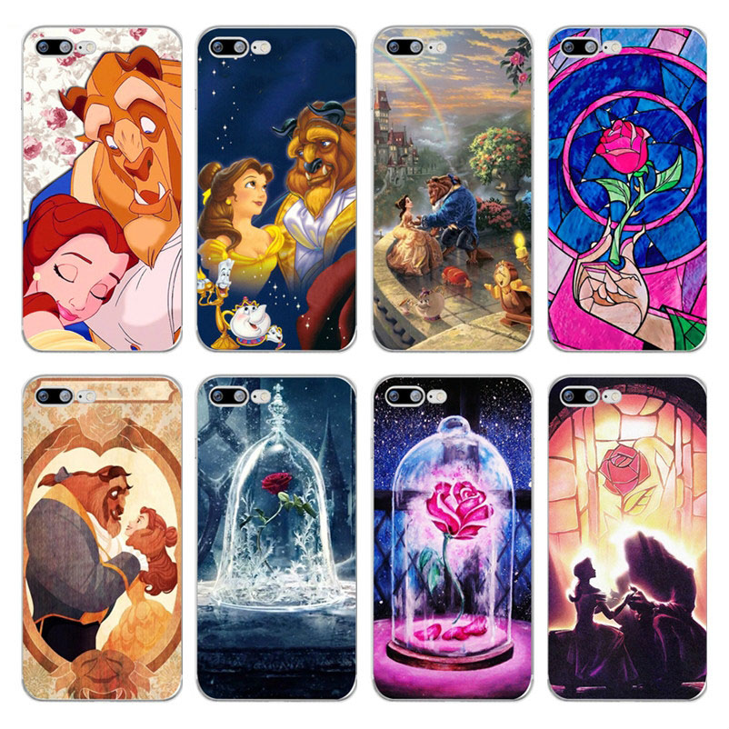Cartoon Beauty Beast Rose Princess Soft Silicone Transparent TPU <font><b>Case</b></font> Cover For <font><b>iphone</b></font> 6 6s 7 8 Plus 5 <font><b>5S</b></font> SE X Xs Max Xr Coque image