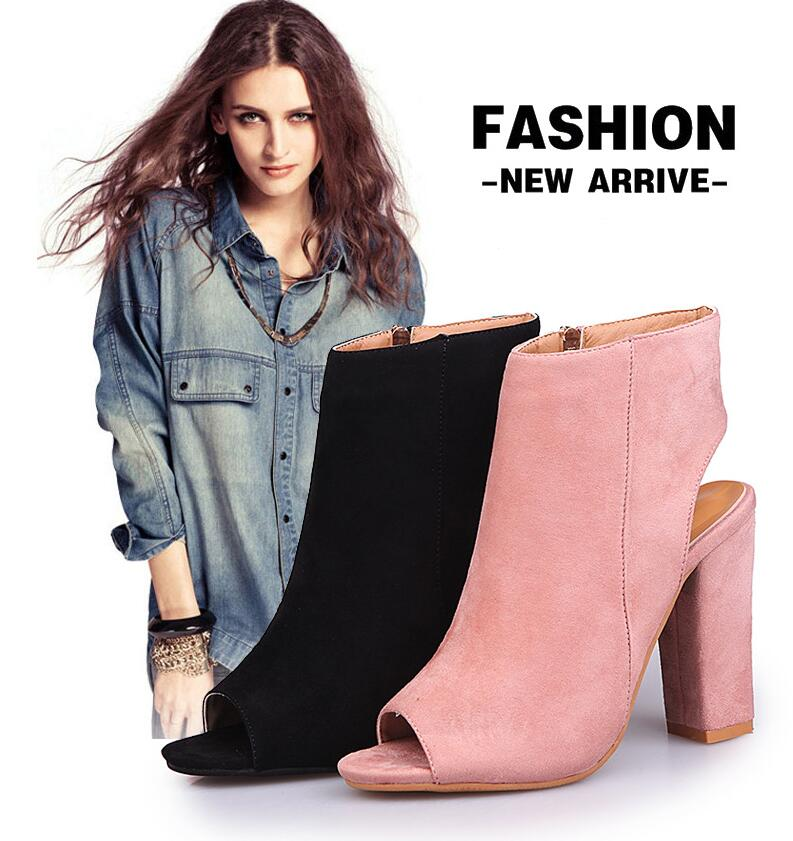 US $16.82 33% OFF|Women High Thick Heels Sandals Open Toe Nude Party Fashion Zipper Suede Sandals Pumps Shoes Sandalia Feminina 288 in High Heels from