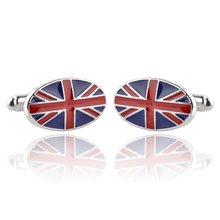 Cuff Links For Men Oval United Kindom England Britain National Flag Cufflinks Patriot Jewelry