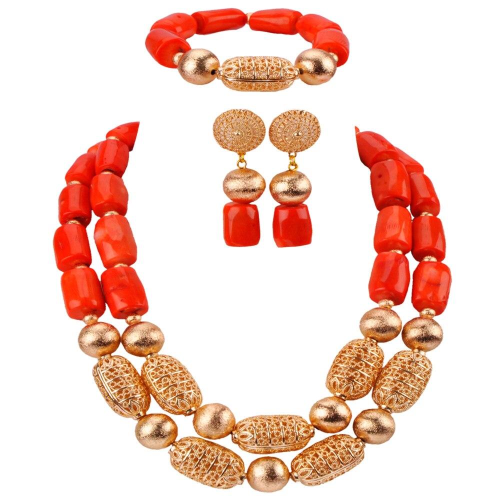 Collar de Coral africano de cuentas de color naranja de moda conjunto de joyas de cuentas nigerianas conjunto de joyería nupcial CBS37-in Conjuntos de joyería from Joyería y accesorios    1