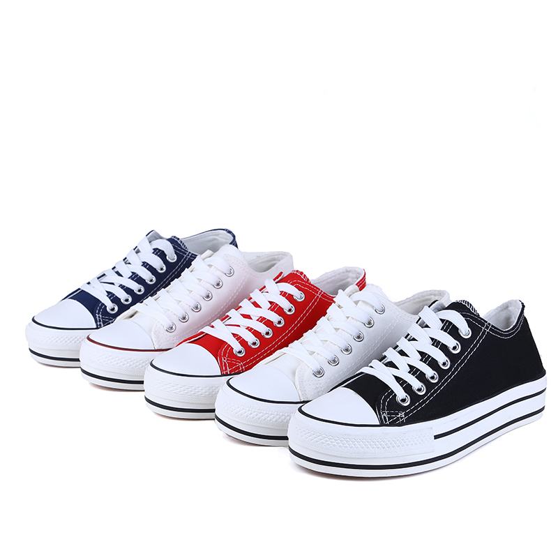 S.Romance 2019 Women vulcanized sneakers breathable flat casual white shoes woman spring and autumn canvas shoes white red SF002