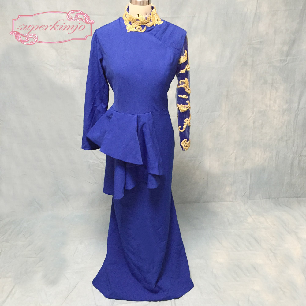 royal blue   prom     dresses   with high neck beading long sleeve cotton satin gold sequins beading peplum mermaid evening   dresses   gown