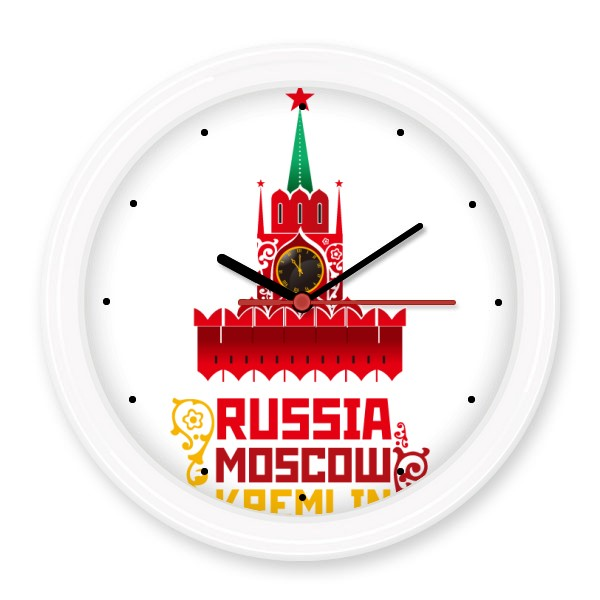 Russia Moscow Kremlin Pattern Silent Non-ticking Round Wall Decorative Clock Home Decal Wedding Decoration