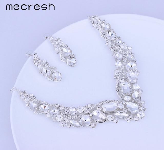 Luxurious Crystal Bridal Jewellery Set Silver Plated Necklace & Earrings