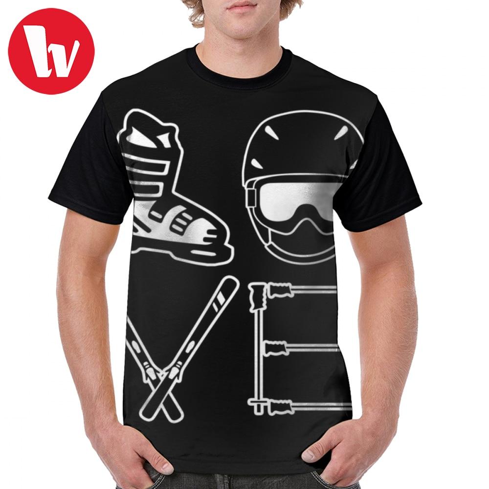 Skier T Shirt Skiing Love T-Shirt Short Sleeves Men Graphic Tee Shirt Print XXX Awesome Beach 100 Percent Polyester Tshirt