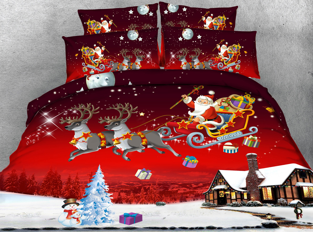 Jf 185 4pcs Santa Claus On Sleigh Red Color Christmas