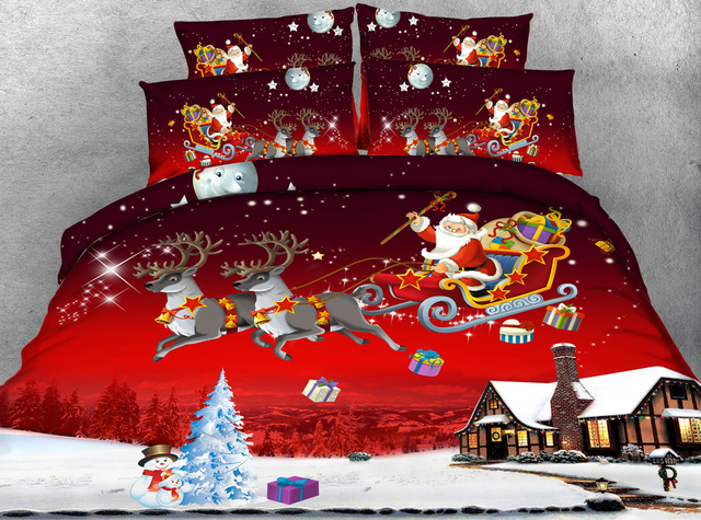 Jf 185 4pcs On Sleigh Red Color Christmas Bedding Set Queen Size