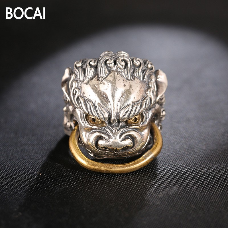 925 sterling silver ring jewelry sector T retro personality animal opening ring man handmade silver jewelry wholesale