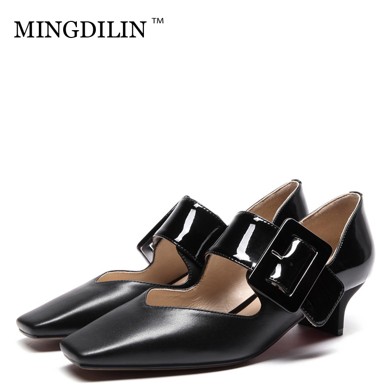 MINGDILIN Stiletto Women's Genuine Leather Mary Janes Shoes Party Woman High Heels Shoes Black White Pointed Toe Sexy Pumps 2018 cocoafoal woman green high heels shoes plus size 33 43 sexy stiletto red wedding shoes genuine leather pointed toe pumps 2018