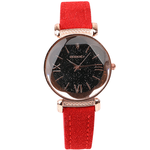 New Arrival Luxury Women Watches Fashion Dress Ladies Watch Rose gold Star dial Design Leather Strap Quartz Watch Clock Women 5