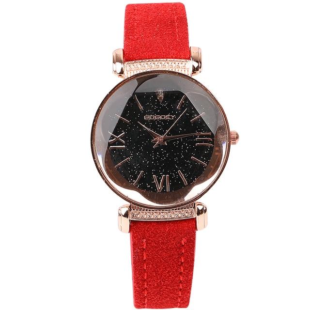 Rose Gold Star Dial Design Leather Strap Quartz Watch 5