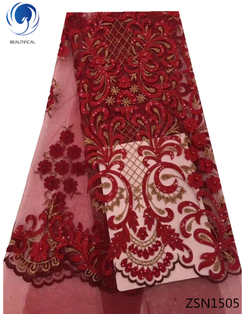 BEAUTIFICAL red french tulle lace fabrics with beads 2018 high quality lace African mesh lace fabrics for wedding 5yards ZSN15BEAUTIFICAL red french tulle lace fabrics with beads 2018 high quality lace African mesh lace fabrics for wedding 5yards ZSN15