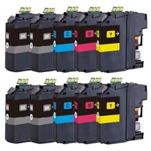 10x LC121 Lc123 lc125 cartucho de tinta para O Irmão MFC-J4510DW J4410DW J4610DW J4710DW J6920DW J6720DW J6520DW chip de impressora
