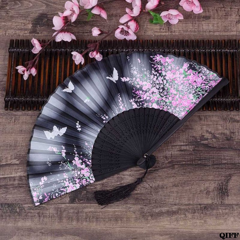 Drop Ship&Wholesale Retro Japanese Chinese Folding Silk Hand Held Fan Butterfly Flower Bamboo Wedding Party Decor Gift APR28