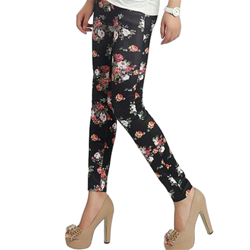 Hot Women's Fashion Design Thin Mid-Waist Chic Fresh Rose Flower Elasticity Print   Leggings   Pants 5ATQ 7FV5