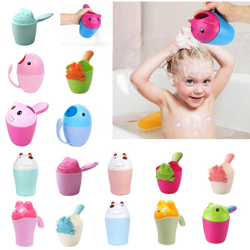 Cute Cartoon Washing Bathing Shower Cup Hair Cup Newborn Baby Shampoo Bailer Water Ladle Shower Toys For Children Bath Tool