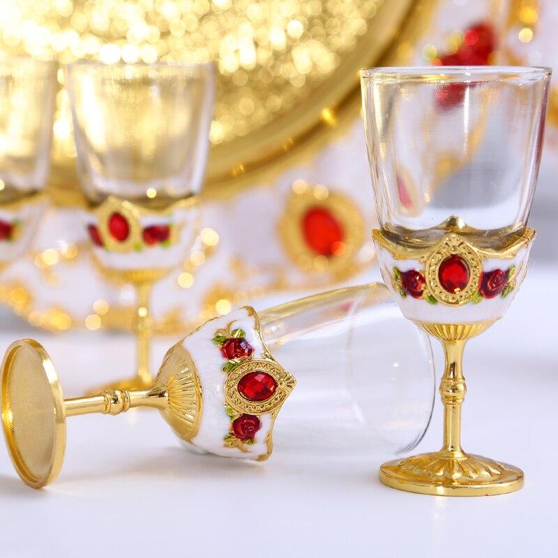 Luxuoso revestimento de aço Inoxidável 304 conjuntos de vidro de Vinho conjunto abridor de vinho para o casamento decorativo Hip flask + bandeja de armazenamento + vinho vidro JJ078 - 3