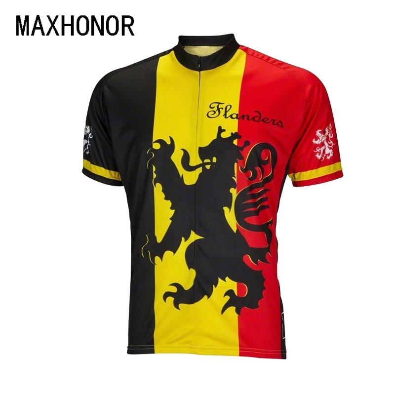 Prix pour Hommes cyclisme jersey noir jaune rouge belgique monde maillots lion de flandre à manches courtes jersey d'été vélo clothing