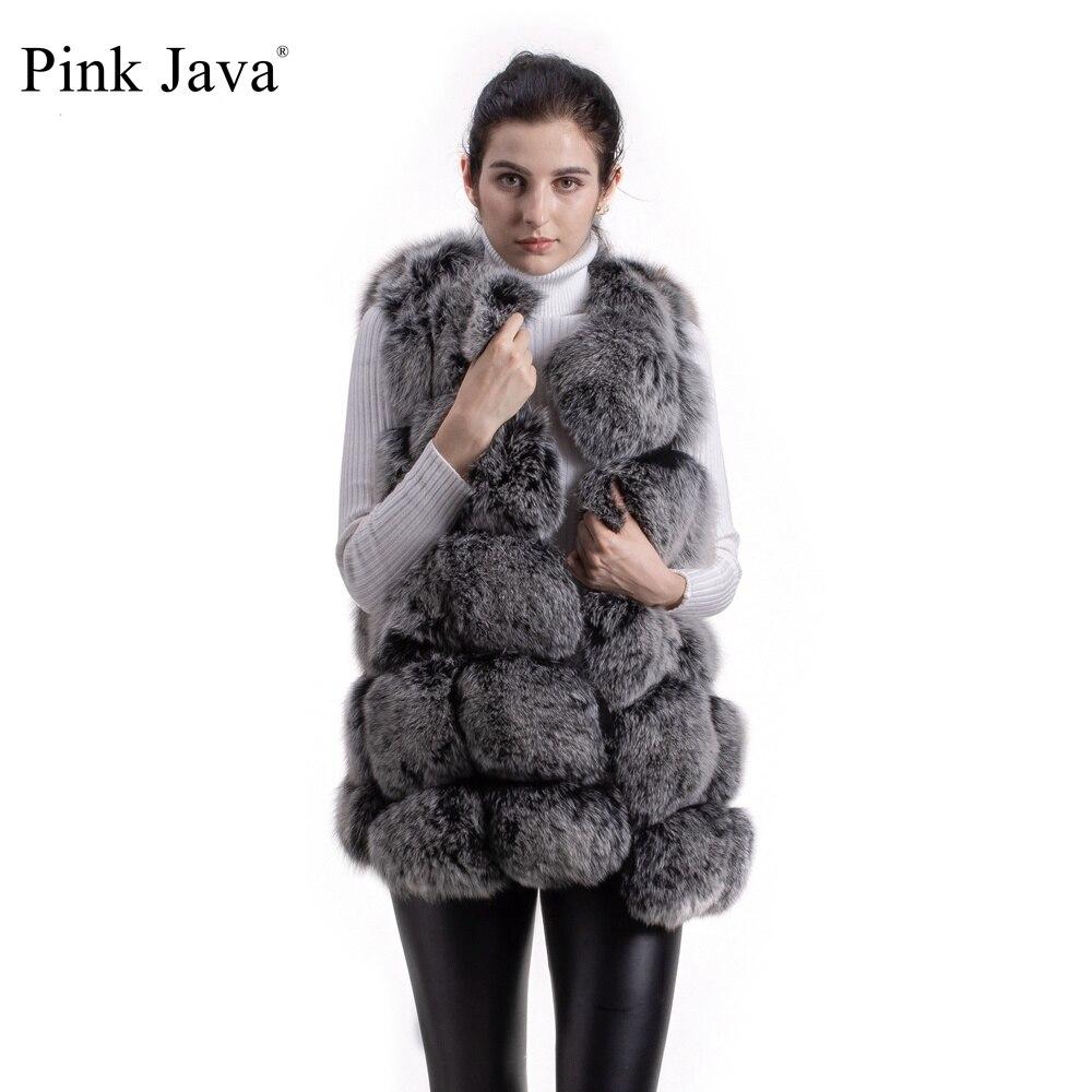 ピンク Java QC8046 ビッグセール送料無料ホットな新ナチュラルキツネの毛皮ロングベスト本物のキツネの毛皮ジレ冬高品質女性キツネ  グループ上の レディース衣服 からの 本物の毛皮 の中 1