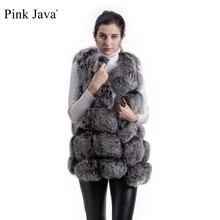 Pembe Java QC8046 sıcak satış kadın kış ceket gerçek tilki kürk yelek doğal kürk jile moda giyim ganuine tilki kürk ceket