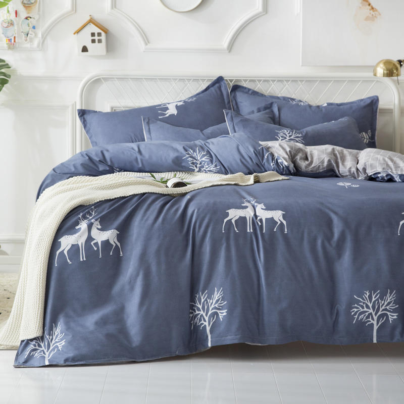 Solstice Home Textile Bedding Set King Queen Twin Full Linens For Teen Adult Boy Girl Elk Duvet Cover Pillowcase Flat Bed Sheets