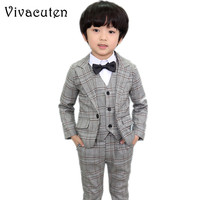 Brand Boys Formal Suits Wedding Birthday Party Jackets Vest Pants Gentleman Kids Children Tuxedo Blazer Costumes Clothes F015