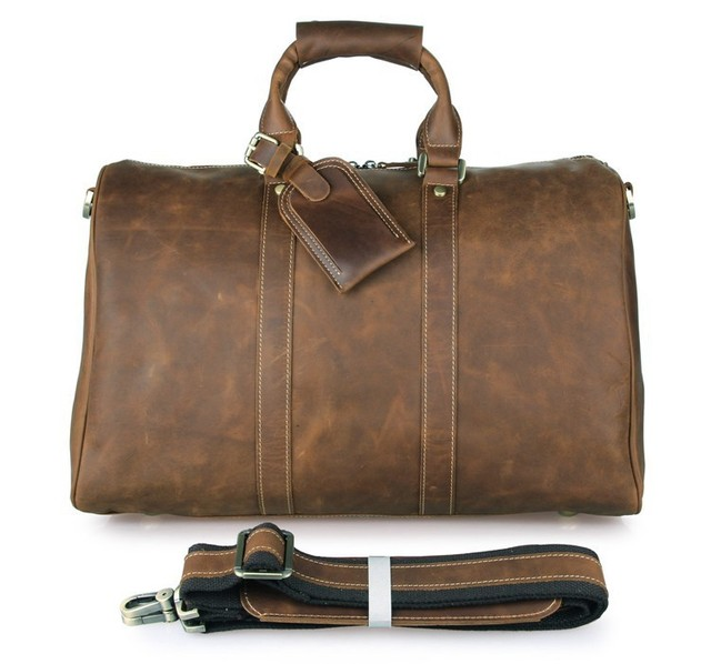 5e6a8c7df0be 7077B Handmade Crazy Horse Leather Unique Tote Luggage Travel Bags ...