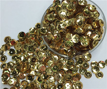 Free shipping  30g(1000pcs)wholesale 8mm Cup Round Gold color loose sequins Paillettes sewing Wedding craft DIY