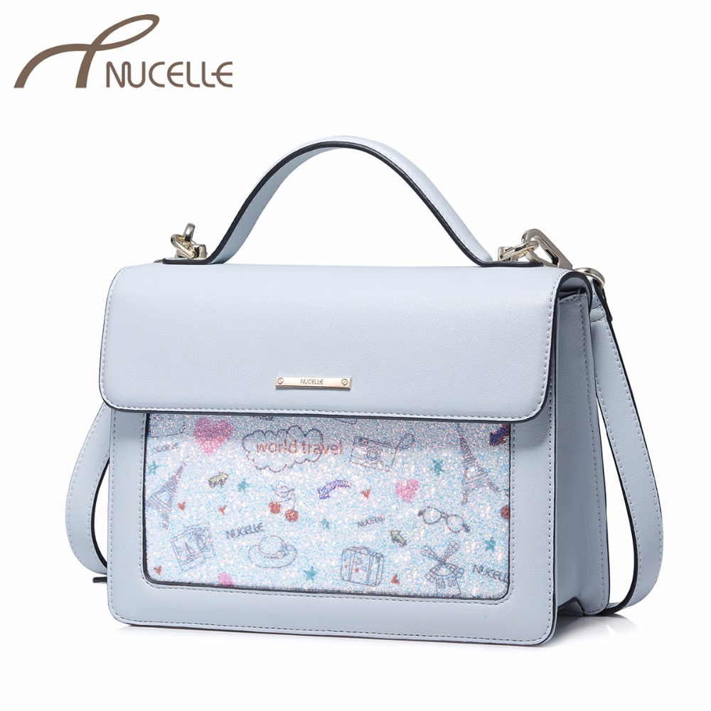 NUCELLE Women's PU Leather Handbag Ladies Fashion Cartoon Tote Shoulder Purse Female Brief All-match Flap Leisure Messenger Bags