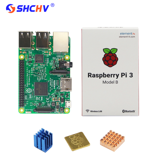 Original Raspberry Pi 3 Model B E14 Version WiFi & Bluetooth + CPU Aluminum Copper Heat Sink for Raspberry Pi 3 RPI 3 Pi 3