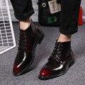 La moda de primavera cordón de cuero en forma de bota botas Martin botas masculinas marea hombres zapatos de punta con un Negocio