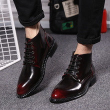 Spring fashion leather high-top lace Martin boots male boots tide men pointed shoes with a Business