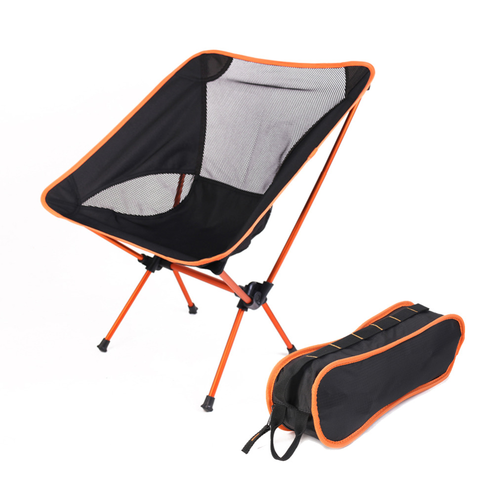Chair One Compact Folding Camp Chair Black Orange Moon