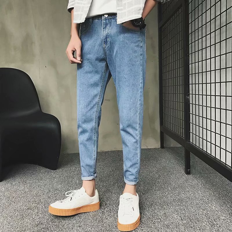Jeans Pencil-Pants Light-Blue Slim-Fit Ripped Ankle-Length Men's Casual Summer Fashion